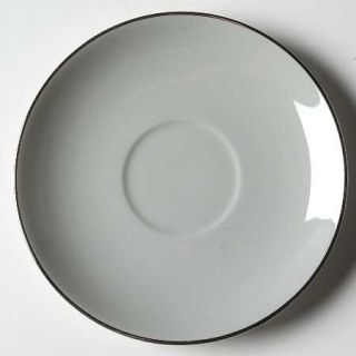 Flintridge Brookmere (Rim) Saucer, Fine China Dinnerware   Gray Band, Rim, Plati