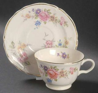 Edwin Knowles Kno176 Footed Cup & Saucer Set, Fine China Dinnerware   Multicolor