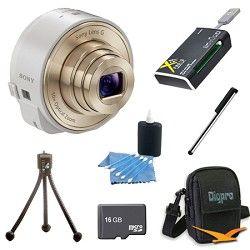 Sony DSC QX10/W Smartphone attachable lens style camera (White) 16GB Bundle