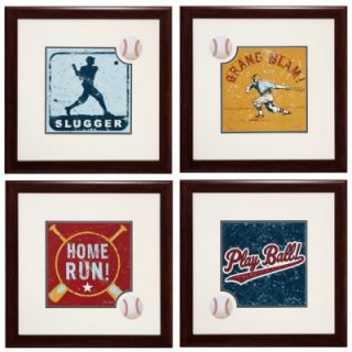 Four Piece Baseball Theme Wall Art Set