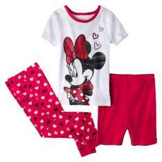 Disney Minnie Mouse Toddler Girls 3 Piece Pajama Set   Red 2T