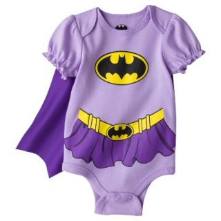 Batman Newborn Girls Batgirl Caped Bodysuit   Purple 3 6 M