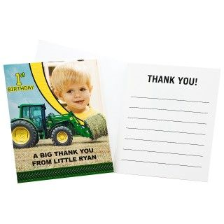 John Deere 1st Birthday Personalized Thank You Notes