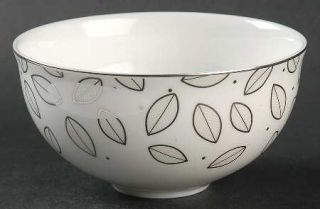 Lenox China Platinum Leaf Dessert Bowl, Fine China Dinnerware   Off Center Plati