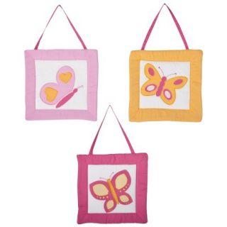 Sweet Jojo Designs Pink and Orange Butterfly Wall Hangings