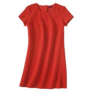 Merona Womens Textured Cap Sleeve Shift Dress   Hot Orange   L