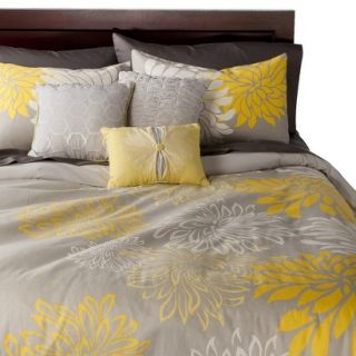 Anya 6 Piece Floral Print Duvet Cover Set   Gray/Yellow (Queen)