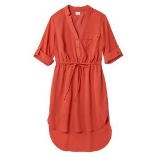 Merona Womens Drawstring Shirt Dress   Orange   M