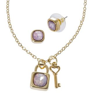 Lonna & Lilly Lock and Key Necklace and Earring Set   Gold/Pink