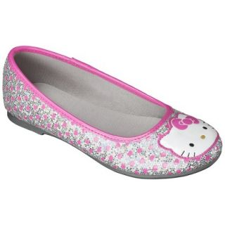 Girls Hello Kitty Ballet Flat   Silver 3