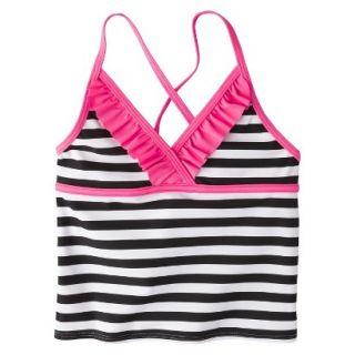 Girls Striped Halter Tankini Swim Top   Black/White L