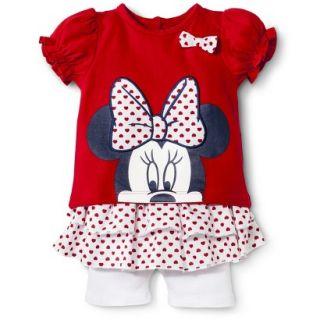 Disney Newborn Girls 2 Piece Minnie Mouse Set   Red 6 9 M