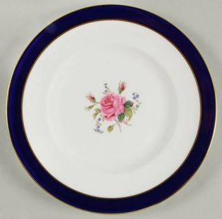 Coalport Fairfax Cobalt Blue Salad Plate, Fine China Dinnerware   Blue Band, Ros