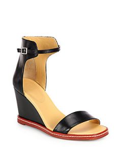 MM6 Maison Martin Margiela Leather Wedge Ankle Strap Sandals   Black