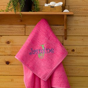 Girls Personalized Pink Beach Towels   All About Me