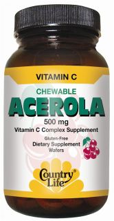 Country Life   Acerola Chewable Vitamin C Complex 500 mg.   180 Wafers