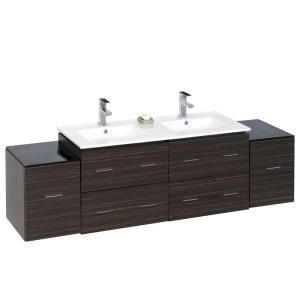 American Imaginations 76 in. Double Vanity in Dawn Grey with Ceramic Vanity Top in White 749