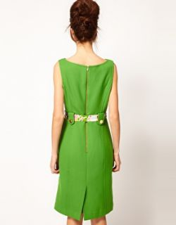 Milly  Vestido de corte recto sin mangas con cinturón floral de seda de Milly en