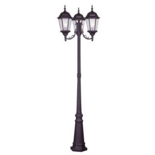 Filament Design Providence 3 Head 86 in. Outdoor Bronze Complete Post Fixture with Clear Water Glass Shade CLI MEN7553 07