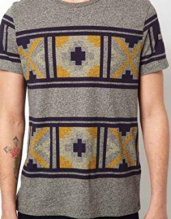 Camiseta con estampado azteca extragrande y acabado en hilos retorcidos de en