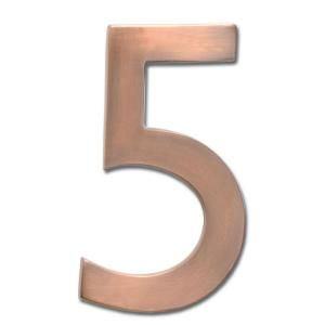 Architectural Mailboxes 4 in. Cast Brass Antique Copper Floating House Number 5 3582AC 5