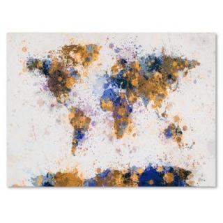 Trademark Fine Art 30 in. x 47 in. Paint Splashes World Map 2 Canvas Art MT0204 C3047GG