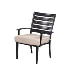 Hampton Bay Marshall Patio Dining Chair with Textured Silver Pebble Cushions (2 Pack) HD14312