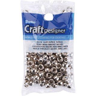 Darice Pony Beads, 144/pkg, Nickel: Crafts