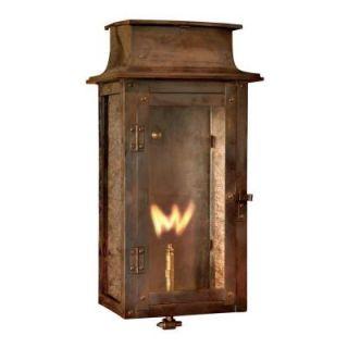Titan Lighting 17 in. Outdoor Washed Pewter Gas Wall Lantern TN 7935