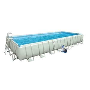 Intex 32 ft. x 16 ft. x 52 in. Rectangular Ultra Frame Pool Set with Sand and Saltwater Combo Filter 28373EG