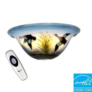 Its Exciting Lighting Wall Mount Stained Glass Half Moon with Ducks Battery Operated 3 LED Wall Sconce AMBP100
