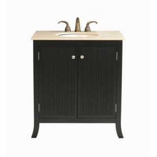 Virtu USA Strasbourg 32 in. Single Basin Vanity in Black with Natural Stone Vanity Top in Travertine DISCONTINUED LS 1031T