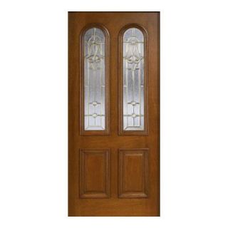 Main Door Mahogany Type Prefinished Cherry Beveled Brass Twin Arch Glass Solid Wood Entry Door Slab SH 552 CH B