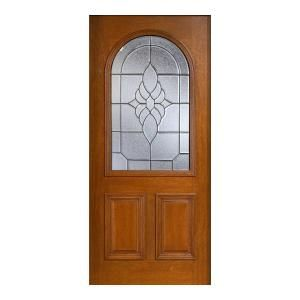 Main Door Mahogany Type Prefinished Cherry Beveled Patina Roundtop Glass Solid Wood Entry Door Slab SH 559 CH BPT