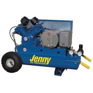 Jenny Products Inc 5 HP Electric Motor 230 Volt Two Stage Wheeled Portable Air Compressor Tools
