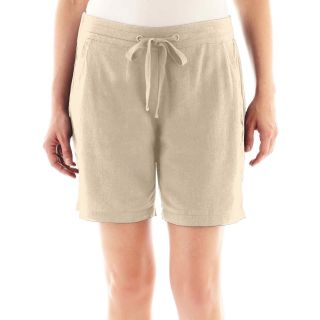 St. Johns Bay Linen Bermuda Shorts   Petite, Khaki, Womens