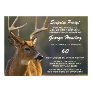 Hunter Hunting Buck Funny Surprise Birthday Party Personalized Invitation