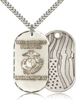 Large Detailed Men's .925 Sterling Silver Marines USMC Marine Corps Protection Gift Medal Pendant 1 1/2 x 3/4 Inches  M22  Comes with a Stainless Silver Heavy Curb Chain Neckace And a Black velvet Box: Jewelry