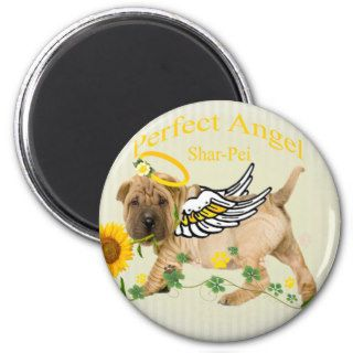 Chinese Shar pei Perfect Angel w Daisy Fridge Magnets