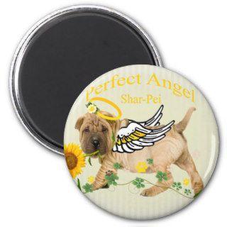 Chinese Shar pei Perfect Angel w Daisy Fridge Magnets
