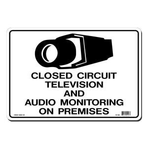 Lynch Sign 14 in. x 10 in. Black on White Plastic Closed Circuit Television and Audio Monitoring on Premises Sign W  13A