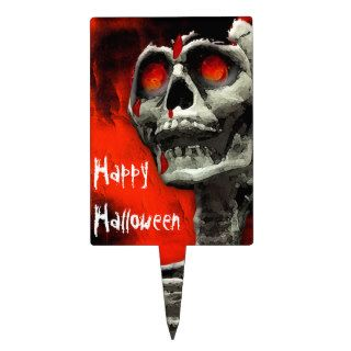 Scary Skull Red Sky Happy Halloween Cake Topper