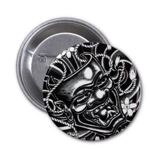 Hannya Mask Tattoo Design Pinback Buttons