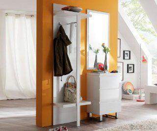 Garderobe Lucido 170x195cm Weiss HG Garderobenmöbel mit Spiegel: Küche & Haushalt