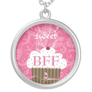 Pink Cupcake Damask BFF BEST FRIENDS FOREVER Personalized Necklace