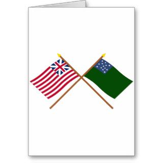 Crossed Grand Union and Green Mountain Boys Flags Greeting Card