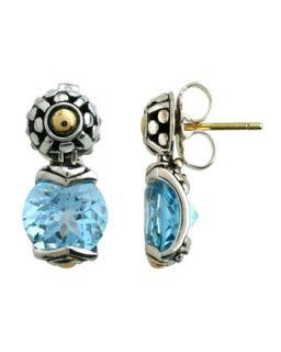 Blue Topaz Round Drop Earrings