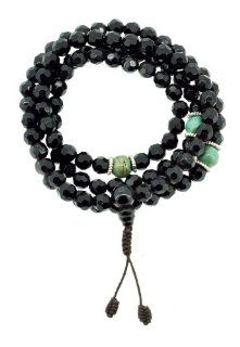 Tibetan 8mm Faceted Black Beads and Faux Turquoise 108 Prayer Bead Necklace Mala Strand Necklaces Jewelry