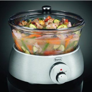 (SWAN) Kitchen Glass and Stainless Steel Slow Cooker 5L (SF11050N) Kitchen & Dining