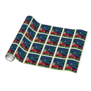 Vintage comic style romantic car scene gift wrap